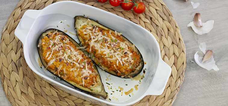 AUBERGINES STUFFED WITH MEAT AND MUSHROOMS